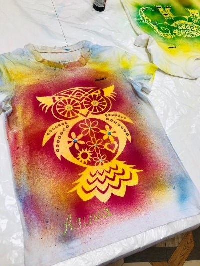 Роспись футболок_сова