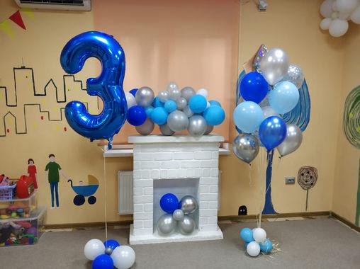 Шар-цифра 3 и фонтан со зездочкой