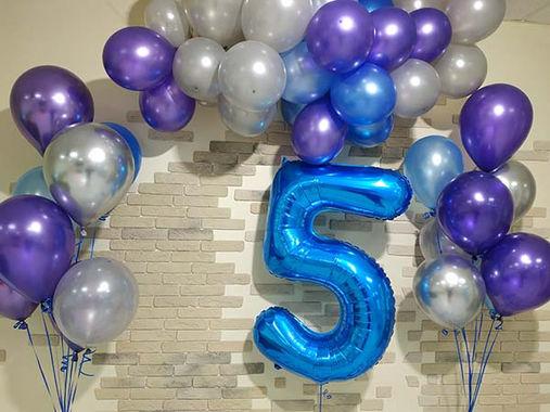 Шар-цифра 5 и фонтаны из шаров