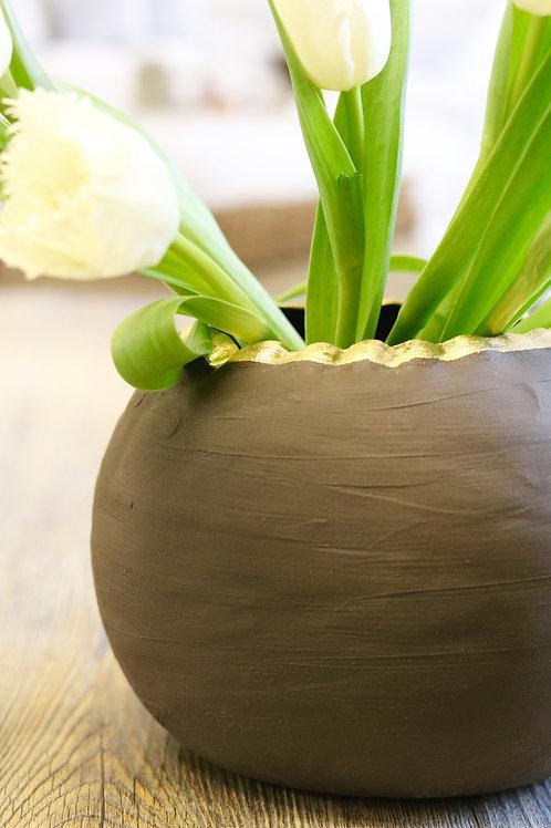 black & gold globe vase