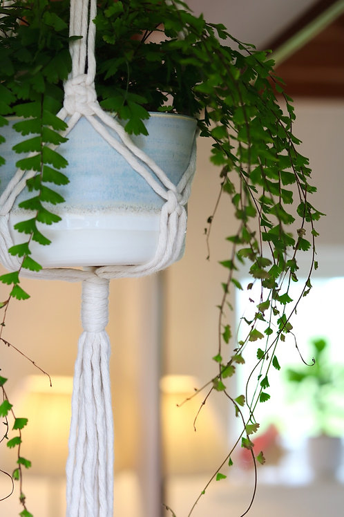 Seafoam hanging plant pot