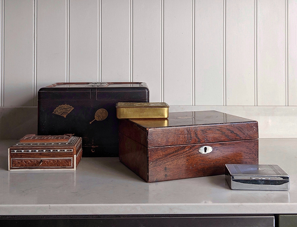 Collection of antique and vintage boxes