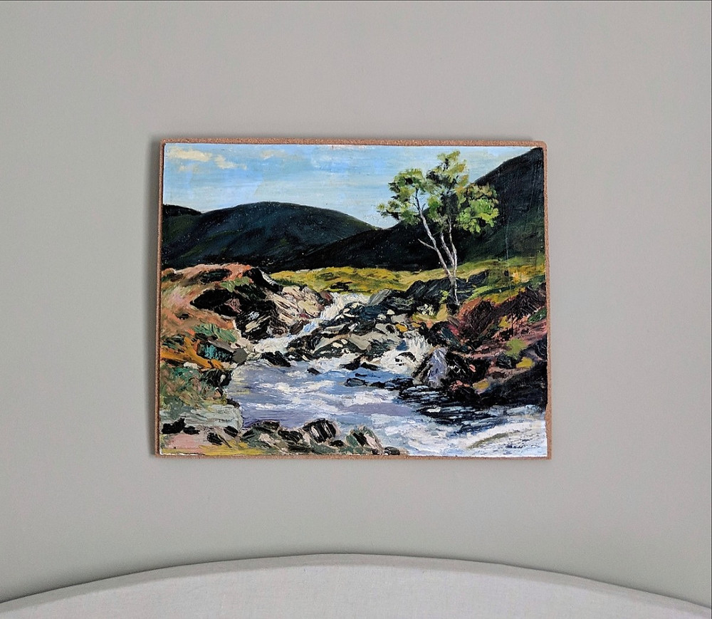 Oil painting landscape of a Perthshire river