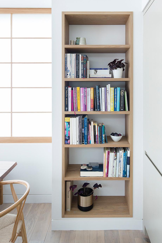Wooden kitchen book shelves