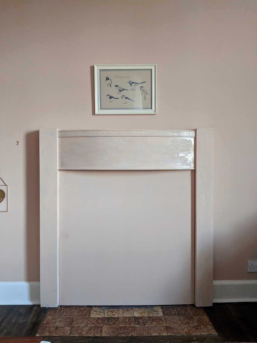1930s fireplace painted pink