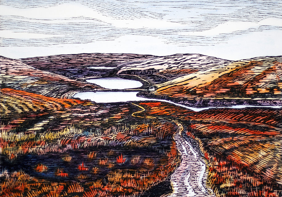 Autumn Walshaw Dean woodcut. A woodcut print of a landscape scene looking down on Calderdale reservoirs and the Pennine Way during the Autumn season when the moors are all gold and russet coloured, with a pathway coming towards the viewer.