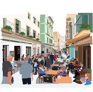 Spanish City Street Scene