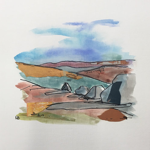 Mixed Media Landscape on Paper