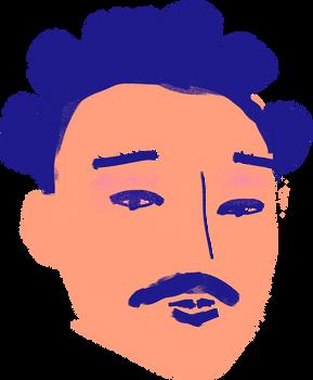 口ひげを持つ男