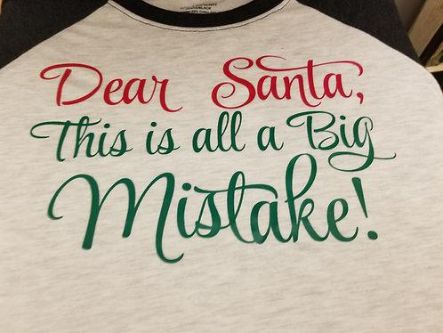 """Dear Santa"" +your own saying- Men's 3/4 Sleeve"