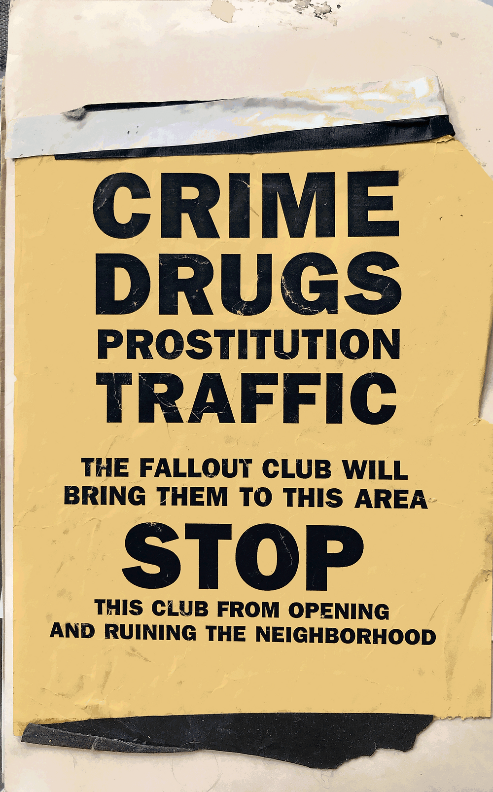 Black and white scanned flyer for Fallout nightclub