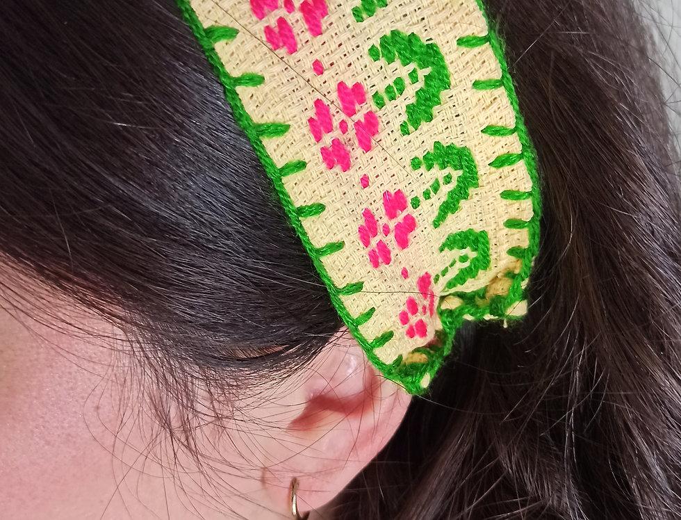 Hand embroidered headband
