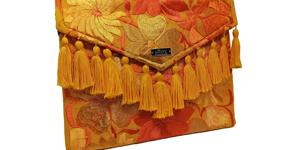 Handmade Embroidered Chiapas Clutch - Pompons