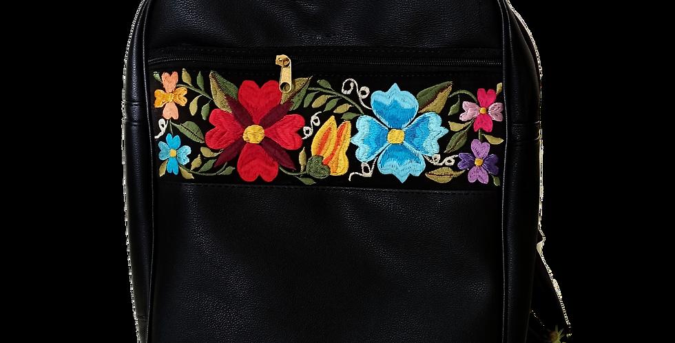 Handmade Embroidered Yucatan Backpack Black