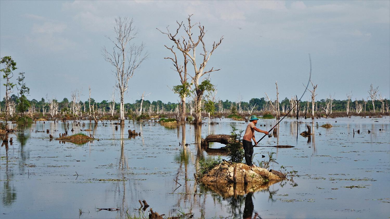 Un pêcheur à Angkor