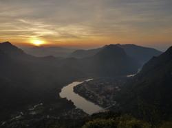 coucher de soleil de Nong Kiaw