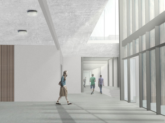 new entrance foyer-view to connecting co