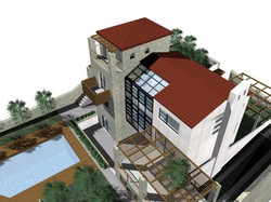 Environmental study for a double storey house with greenhouse