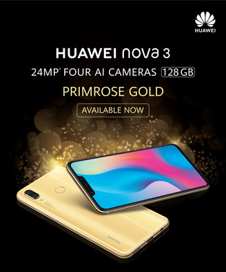 HUAWEI NOVA 3 IN EXCLUSIVE PRIMROSE GOLD EDITION