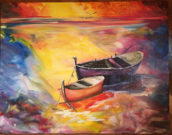 impressionist boat painting for Joey 2016