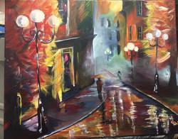 Rainy night in Georga painting