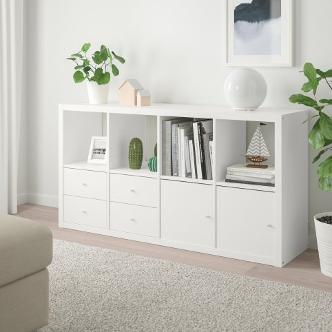 KALLAX Shelf unit with 4 inserts, white, 30 3/8x57 7/8 ""