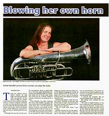"""""""Avital Handler proves that women CAN play tuba"""" , Jerusalem Post"""