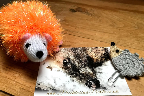 All things bright and Tinsell! Colourful Hedgehog with Tinsell fridge magnet