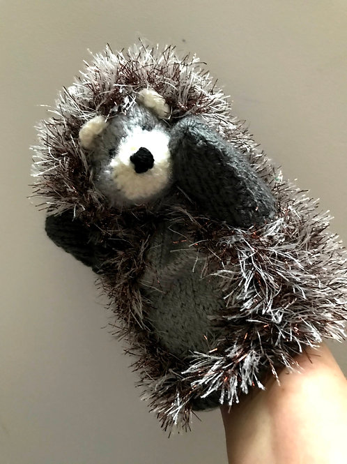 Hand knitted hedgehog hand puppet - Biscuit