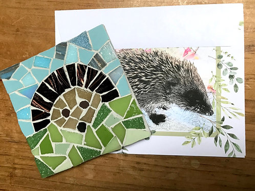 Hedgie Mosaic Coaster with a PiaP card and envelope