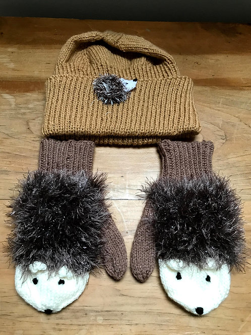 Hedgehog Beanie and Mitts for small hands