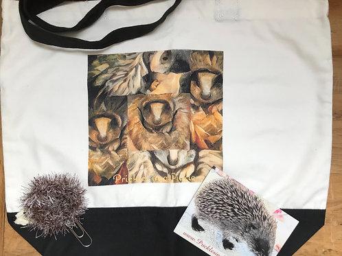 Tote Shoulder Bag , Hedgie bookmark and PiaP fridge magnet