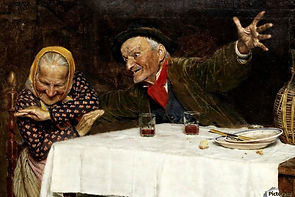 Two Old People Having A Meal