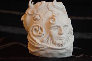 Sculpture en terre Blanche les Faunes N°2
