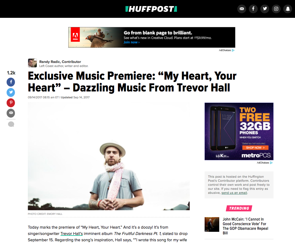 Trevor Hall on Huffington Post