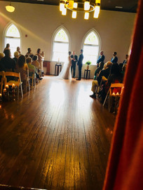 Bride and Groom saying wedding vows in historic downtown Wilmington NC