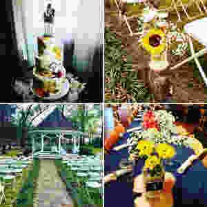 wedding alter, wedding bouquet, fall wedding cake