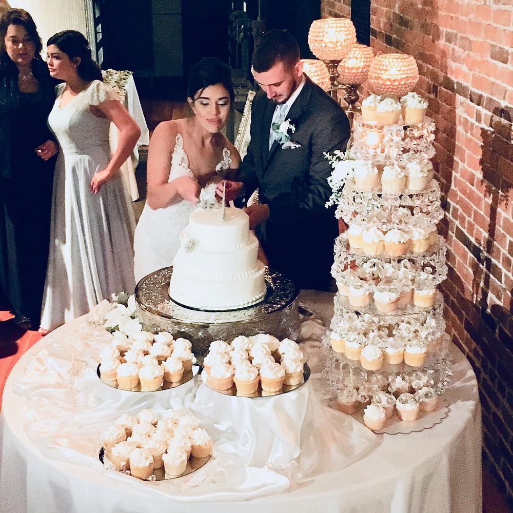Bride and Groom Cutting Wedding Cake at Wedding Reception