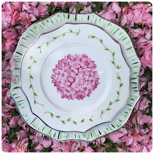 "Assiette peint main Collection ""hortensia"""