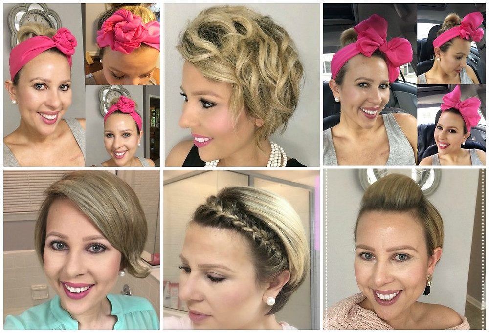 Montage of pictures showing various ways that you can style short, post chemotherapy hair