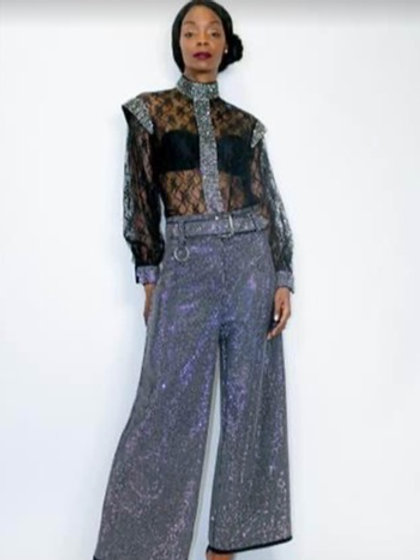 Sequin Belted Pant