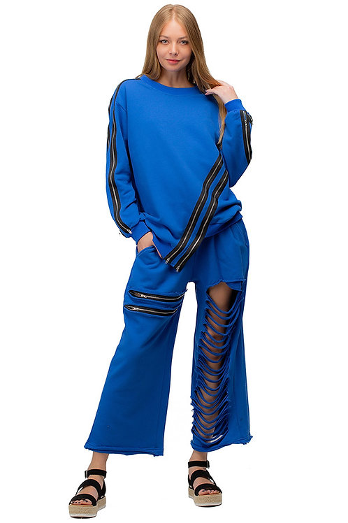 2 Pc Jogger with Zipper Accented Top and Slit Pant