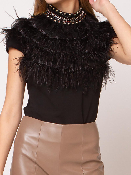 Feathered Accented Rhinestone Top