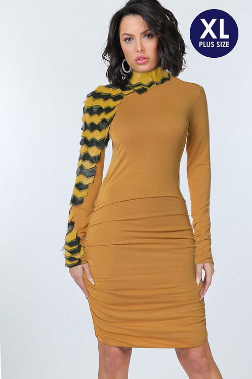 Knit Dress with Faux Leather Sleeves