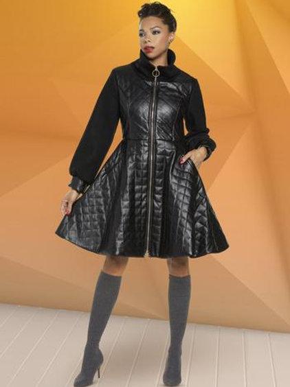 Zip Front Puckered Coat Dress