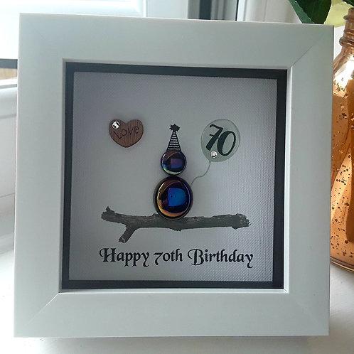 GLASS PEBBLE MINI HAPPY 70TH BIRTHDAY