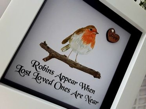 WATERCOLOUR ROBINS APPEAR FRAMED PRINT