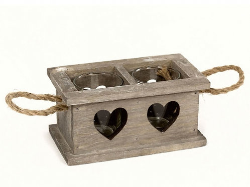 2 SPACE RUSTIC WOODEN HEART TEA LIGHT HOLDER
