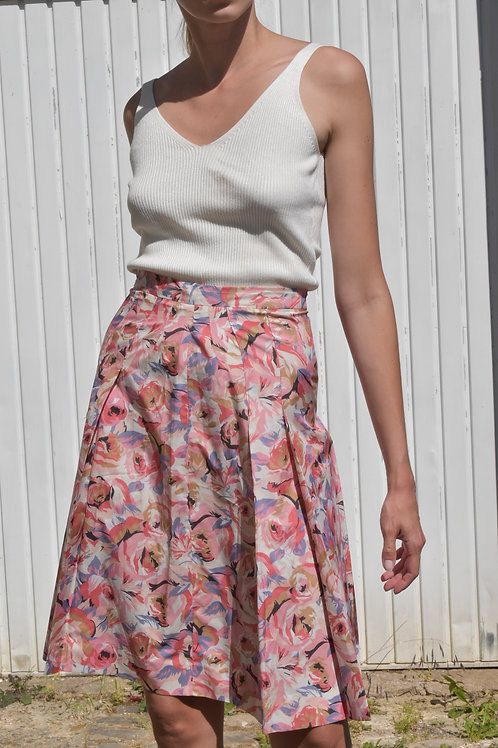 50's floral midi skirt - Pink roses