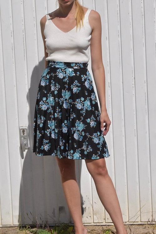 50's floral midi skirt - Midnight